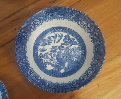 Woods Ware Blue Willow Round Serving Bowl Wood & Sons England 21cm