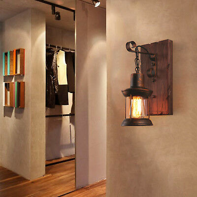 Industrial Art Antique Indoor Black Mini Sconce Wall Lamp Bedside Light Lamp US
