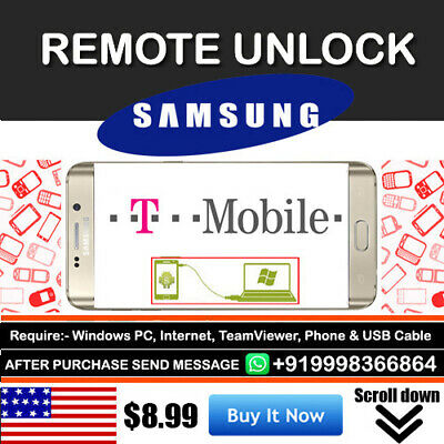 T-Mobile Factory Sim Unlock App Code Service Samsung Galaxy Note 9 8 S8/S8+ Plus