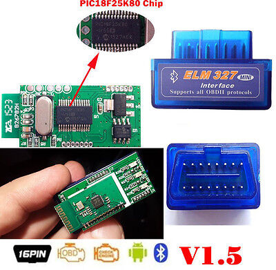 Mini OBD2 Code Reader ELM327 1.5 Bluetooth Auto Diagnostic Tool PIC18F25K80 Chip
