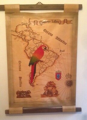 Hand crafted wall hanging leather map Latin America signed Glauco Brasil
