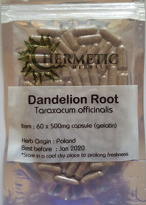 Dandelion Root Capsules 100 x 500mg - Liver , Kidneys , Digestion, Immune Boost