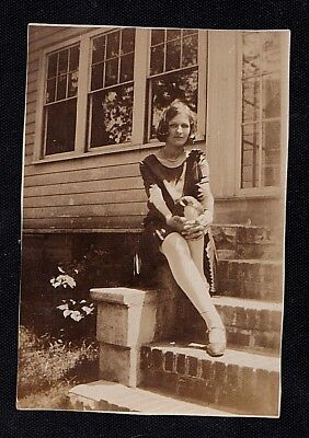 Old Vintage Antique Photograph Sexy Young Woman Sitting on Front Porch