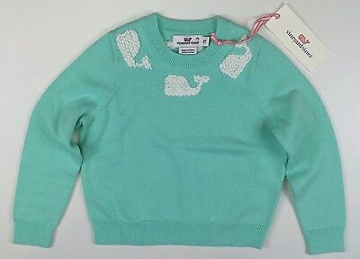 Vineyard Vines Girls SWEATER Whale Embroidery Tiffany Blue NEW 2 2T LBFO