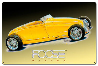 Vintage Style Steel Sign 29 Roadster Yellow 36 x 24