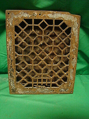 "ANTIQUE LATE 1800'S CAST IRON HEATING GRATE ORNATE DESIGN 11.75 x 9.75"" hc"