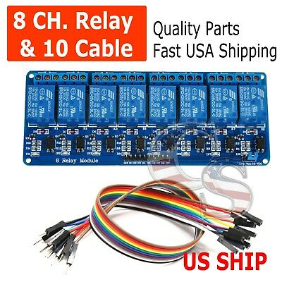 8 Channel 5V Relay Shield Module Board & Cables Arduino Raspberry Pi ARM AVR