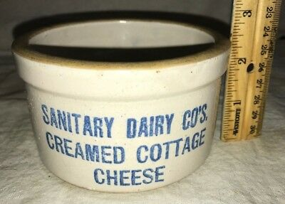 Antique Sanitary Dairy Creamed Cottage Cheese Stoneware Butter Crock Small Size