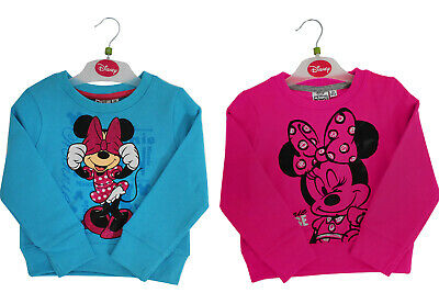 Kids Girls Minnie Mouse Sweatshirt Jumper Childrens Disney Top Clothes Clothing