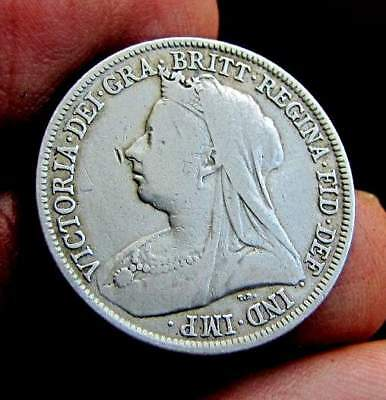 1895 ONE SHILLING- Great Britain, sterling silver