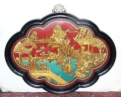 Chinese Wood Carved Gold Gilt Lacquer Garden Scene Wooden Panel Plaque Wall Hang