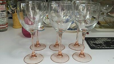 Vintage Luminarc Rose Wine Glasses, Peach Pink - Set of 6