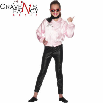 OFFICIAL Girls Pink Ladies Jacket Grease 50s Licensed Kids Fancy Dress Costume