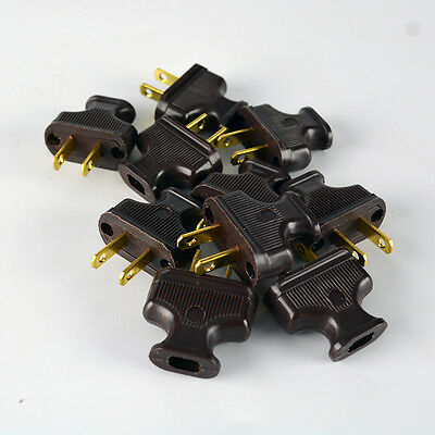 Brown 10-Pack Vintage Antique Style Electrical Plugs - Lot of 10 - Lamp Cord