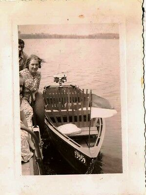 Old Antique Vintage Photograph People Standing By Cool Old Boat