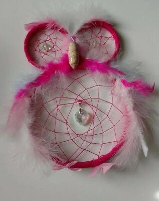 Pink and blue dream catcher owl