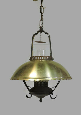 Antique Vintage Brass & Iron Hanging Ceiling Light Fixture