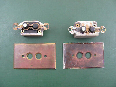 2 Vintage Perkins Brass Push Button Wall Covers & Switches Working