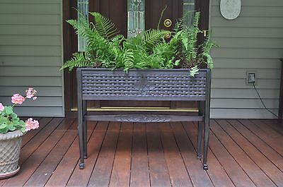 Antique Black Forest Raised Planter Box Adirondack Carved Wooded Plant Stand