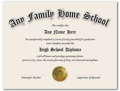 Home School High School GED Personalized Diploma w/ Gold Official Seal Novelty