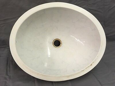 Oval Antique Vitreous China Ceramic Trenton Under Mount Marble Sink Basin 02-18E