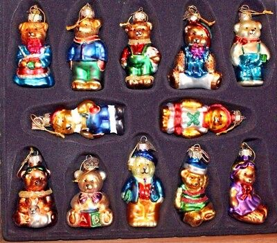 Thomas Pacconi Classics 2002 Collection Set Of 12 Glass Christmas Bears Ornament