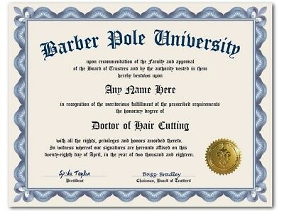 Barber Pole University Personalized Diploma w/ Gold Seal Novelty Hair Cutting