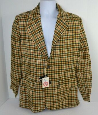 Vtg 1970's Men's Houndstooth Orange/Green Blazer Sport Coat USA Made 38 NOS