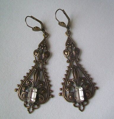 ANTIQUE FINISH Dangle Earrings-VICTORIAN FILIGREE DROP-CLEAR CRYSTAL Glass