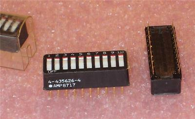 AMP 4-435626-4 10 POSITION ROCKER DIP SWITCH ( Qty 24 ) *** NEW ***