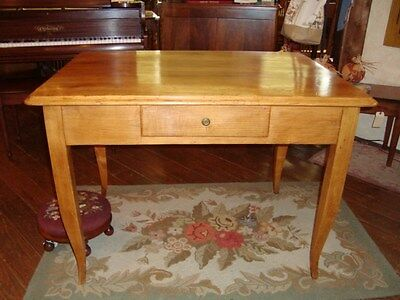 French Farm table or table desk with one drawer, fruit-wood, circa 1850, w 43in.