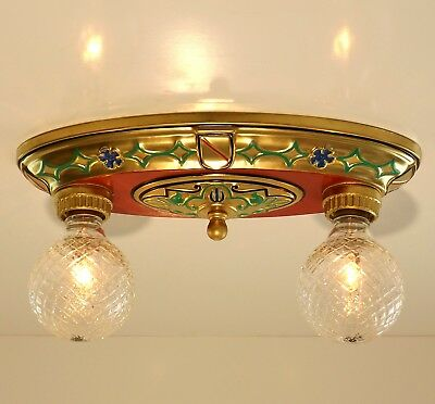 Vintage Art Deco Nouveau Victorian 2 Light Flush Mount Ceiling Lamp Fixture Gold