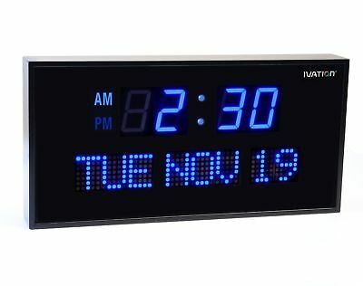 Big Oversized Digital LED Calendar Ivation Clock with Day and Date-Blue-12 Inch