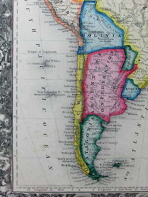 South America electric looking 1860 Mitchell remarkable vintage hand color map