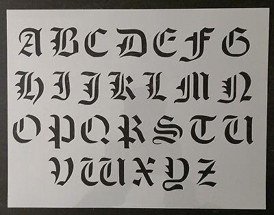 "Old Olde English Font Alphabet 11"" x 8.5"" Custom Stencil FAST FREE SHIPPING"