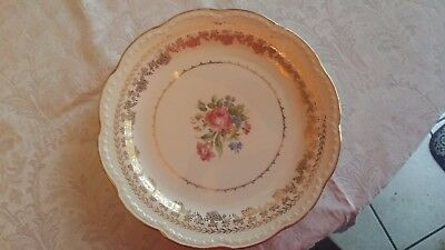 "Vintage Antique Stetson American Beauty Rose Round 10"" Dinner Plate"