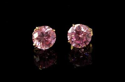 Vintage Pink Kunzite 14K Gold Stud Earrings