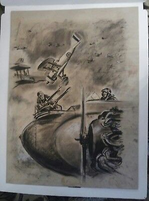 Large Original Drawing Aviation Combat Dogfight Airplane Dated 1934 Signed..rare