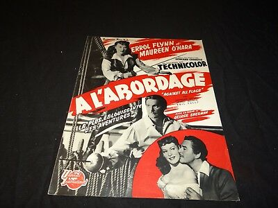 A L' ABORDAGE Errol Flynn Anthony Quinn scenario presse cinema 1953 pirates