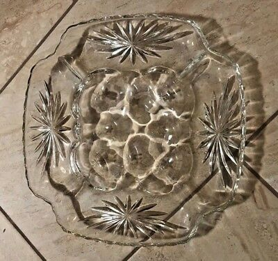 Early American Prescut Star of David Egg Serving Tray EAPC Anchor Hocking Glass