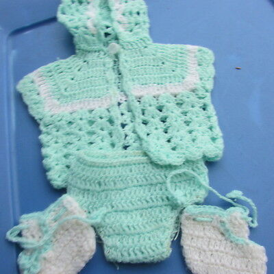 Baby Doll Knit Outfit Cape, Booties, Bloomer For Dy-Dee Baby Tiny Tears Vintage