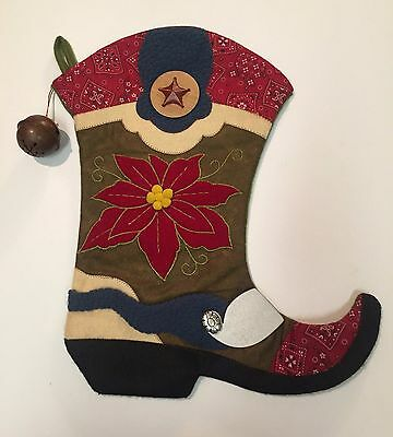 Western Christmas Stocking Cowboy Boot Poinsettia Applique Embroidery Bell