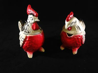 Vintage Rooster and Hen Salt Pepper Sugar Creamer Set