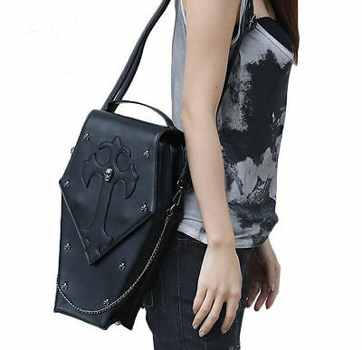 Gothic-Steampunk-Exclusive-Retro-Visual-Rock-Coffin-Shape-PU-Bag-Backpack-Unisex