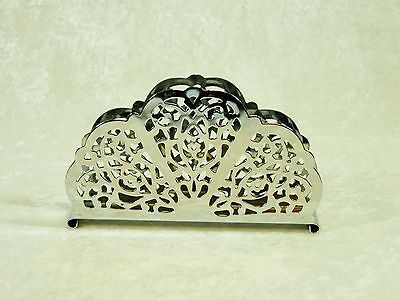 Vintage Chrome Plated Steel Floral Lace Openwork Irvinware Napkin Holder