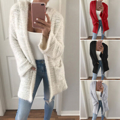 Women Oversized Long Sleeve Knitted Sweater Tops Hooded Cardigan Outwear Coat