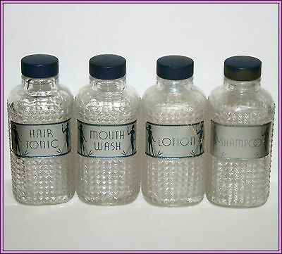 Vintage Lot of Clear Glass Vanity Bottles Bottle Shampoo Mouth Wash Tonic Lotion