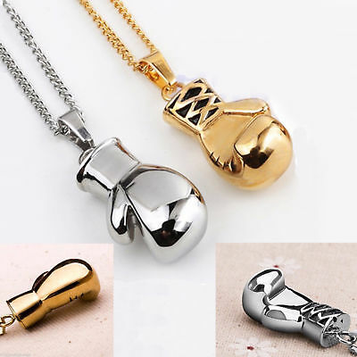 """Gold or Silver Plated Boxing Glove Pendant Chain Necklace Mens & Boys 20"""" Inches"""