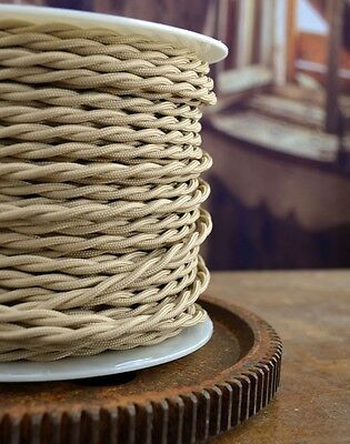 Sahara Beige Cloth Covered Twisted Electrical Wire - Lamp Cord - Pendant