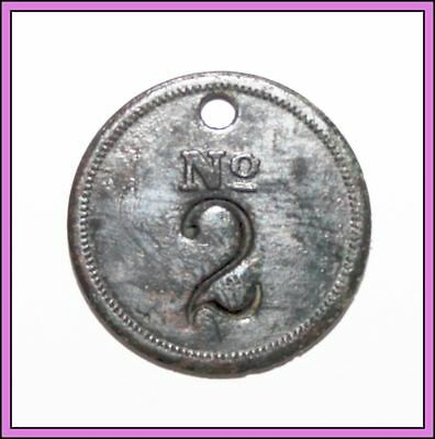 Vintage Antique Brass Token Coin #2 Number No. 2 Key FOB fot key Chain